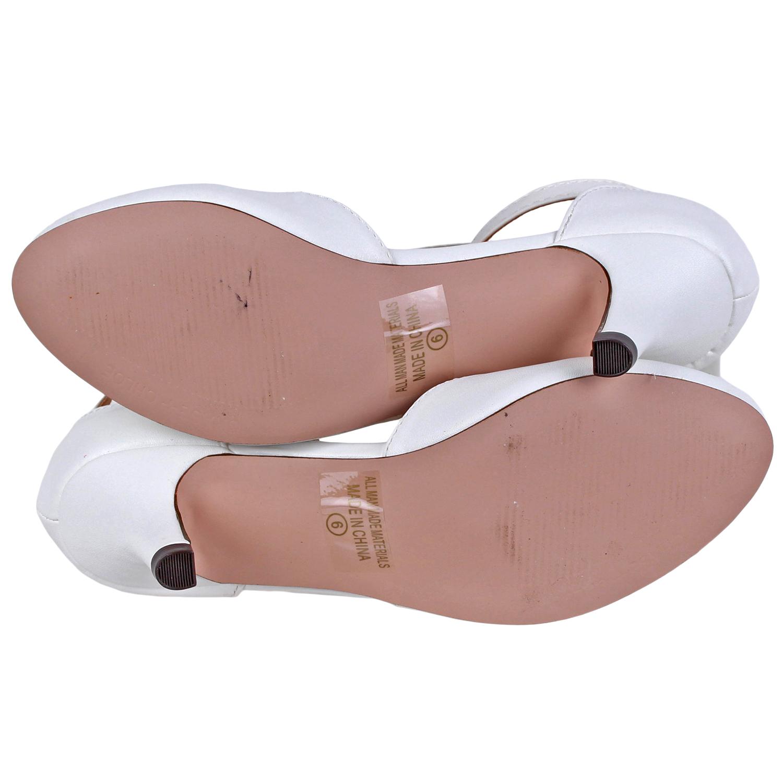 b47d9f0ec210 Chase   Chloe Womens Kimmy T-Strap Pump Shoe KIMMY-LOW-WHTPU White PU Size  6.5